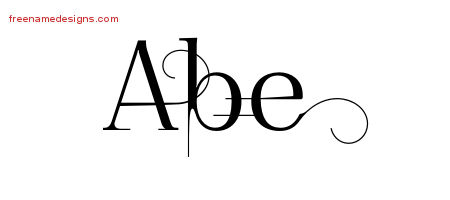 Decorated Name Tattoo Designs Abe Free Lettering