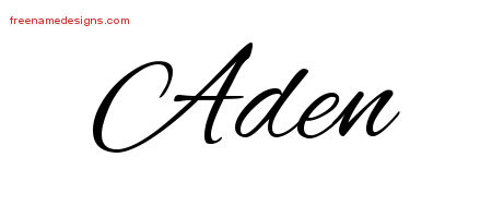 Cursive Name Tattoo Designs Aden Free Graphic