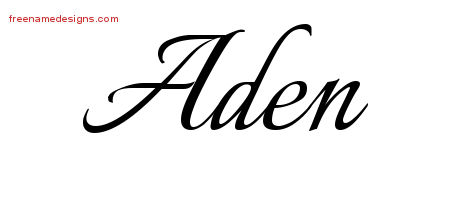 Calligraphic Name Tattoo Designs Aden Free Graphic