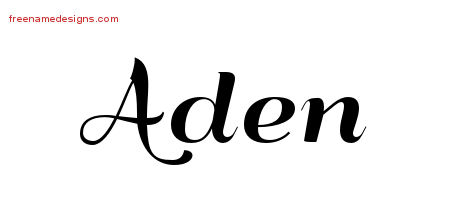 Art Deco Name Tattoo Designs Aden Graphic Download