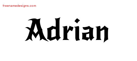 Gothic Name Tattoo Designs Adrian Free Graphic Free Name Designs
