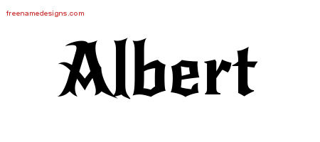 Gothic Name Tattoo Designs Albert Free Graphic
