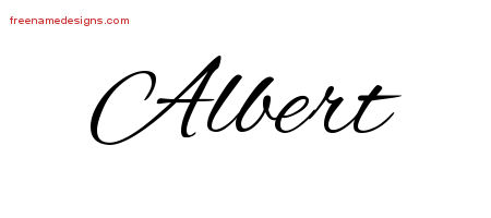 Cursive Name Tattoo Designs Albert Free Graphic