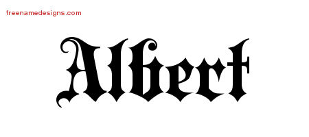 Old English Name Tattoo Designs Albert Free Lettering