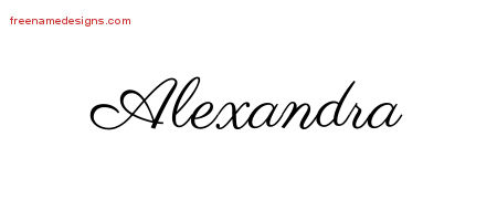 Classic Name Tattoo Designs Alexandra Graphic Download