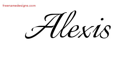 Calligraphic Name Tattoo Designs Alexis Free Graphic