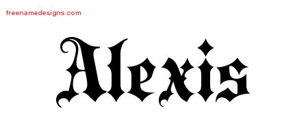 Old English Name Tattoo Designs Alexis Free Lettering