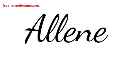 Lively Script Name Tattoo Designs Allene Free Printout