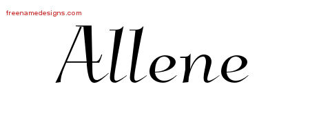 Elegant Name Tattoo Designs Allene Free Graphic