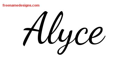 Lively Script Name Tattoo Designs Alyce Free Printout