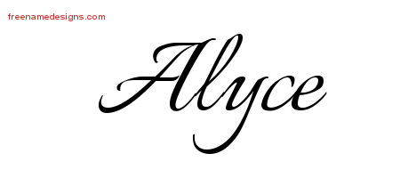Calligraphic Name Tattoo Designs Alyce Download Free