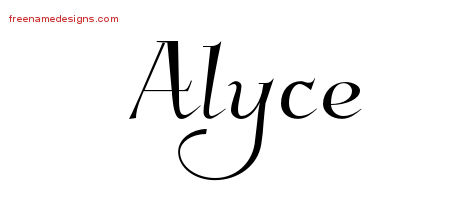 Elegant Name Tattoo Designs Alyce Free Graphic
