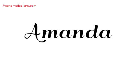 Art Deco Name Tattoo Designs Amanda Printable