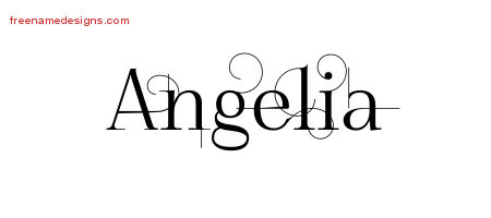 Decorated Name Tattoo Designs Angelia Free