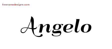 Art Deco Name Tattoo Designs Angelo Graphic Download
