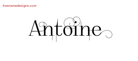 Decorated Name Tattoo Designs Antoine Free Lettering