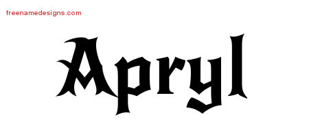 Gothic Name Tattoo Designs Apryl Free Graphic