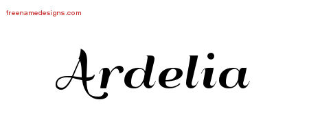 Art Deco Name Tattoo Designs Ardelia Printable