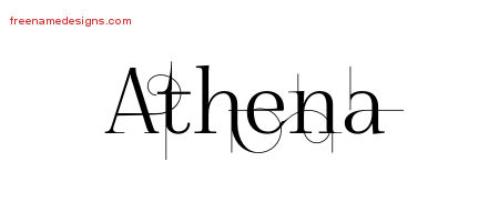 Decorated Name Tattoo Designs Athena Free