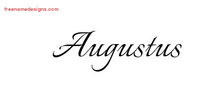 Calligraphic Name Tattoo Designs Augustus Free Graphic