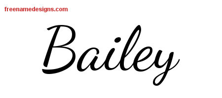 Lively Script Name Tattoo Designs Bailey Free Printout