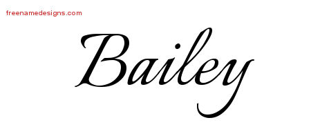 Calligraphic Name Tattoo Designs Bailey Free Graphic