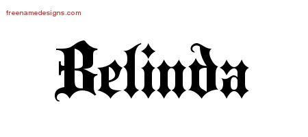 Old English Name Tattoo Designs Belinda Free