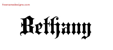 Old English Name Tattoo Designs Bethany Free