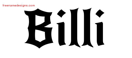 Gothic Name Tattoo Designs Billi Free Graphic