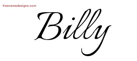 Calligraphic Name Tattoo Designs Billy Free Graphic