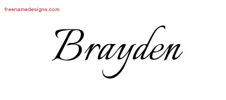 Calligraphic Name Tattoo Designs Brayden Free Graphic