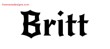 Gothic Name Tattoo Designs Britt Download Free