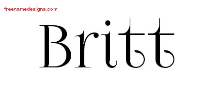 Vintage Name Tattoo Designs Britt Free Printout