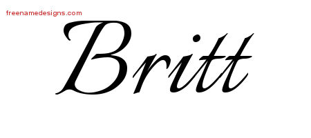 Calligraphic Name Tattoo Designs Britt Free Graphic