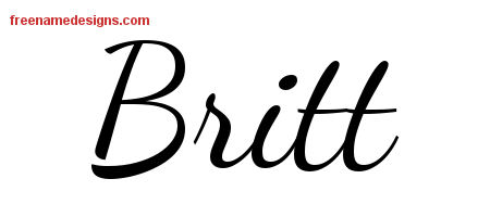 Lively Script Name Tattoo Designs Britt Free Printout