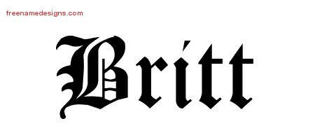 Blackletter Name Tattoo Designs Britt Graphic Download