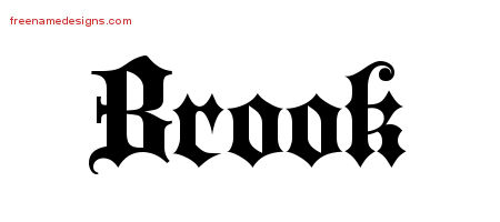 Old English Name Tattoo Designs Brook Free