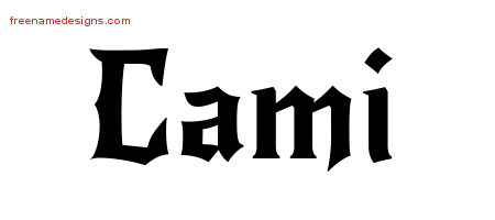 Gothic Name Tattoo Designs Cami Free Graphic