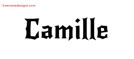 Gothic Name Tattoo Designs Camille Free Graphic