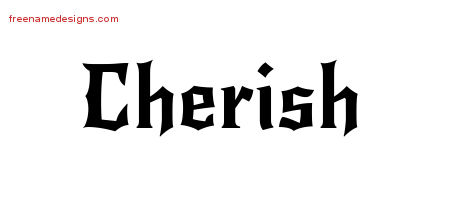 Gothic Name Tattoo Designs Cherish Free Graphic