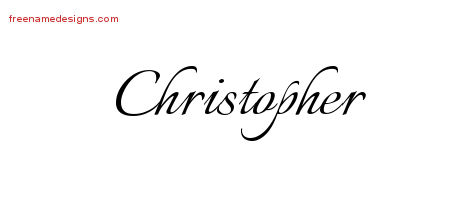 Calligraphic Name Tattoo Designs Christopher Free Graphic