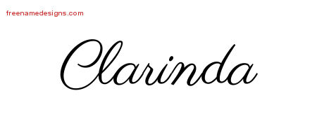 Classic Name Tattoo Designs Clarinda Graphic Download