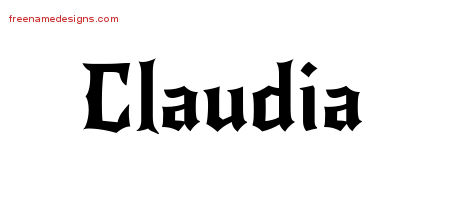Gothic Name Tattoo Designs Claudia Free Graphic