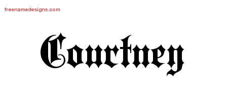Old English Name Tattoo Designs Courtney Free