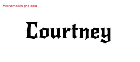 Gothic Name Tattoo Designs Courtney Free Graphic