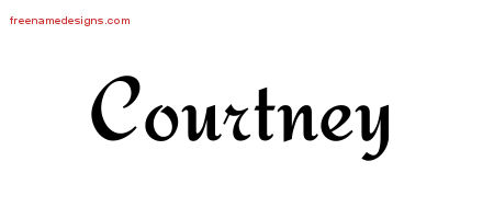 Calligraphic Stylish Name Tattoo Designs Courtney Free Graphic