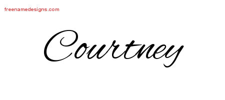 Cursive Name Tattoo Designs Courtney Free Graphic