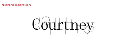 Decorated Name Tattoo Designs Courtney Free Lettering