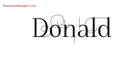 Decorated Name Tattoo Designs Donald Free Lettering