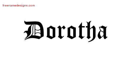 Blackletter Name Tattoo Designs Dorotha Graphic Download